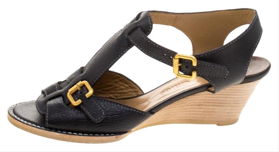 36f203be26dfd7 Chloé Black Leather T-strap Wooden Wedge Sandals Size EU 40 (Approx ...