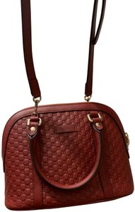 Gucci Leather Guccissima Satchel in Red