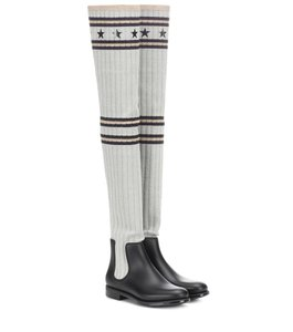 Givenchy Storm Knit Over The Knee Black Boots