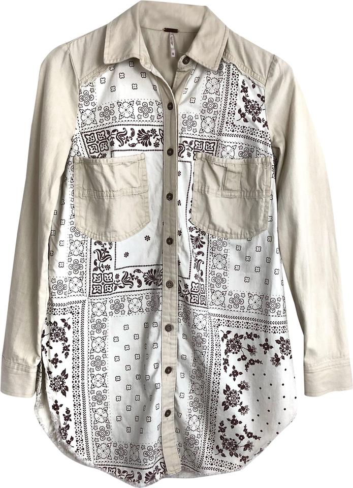 86d0e55d03d2 Free People Ivory Westward Won Bandana Print Shirt Dress Button-down Top