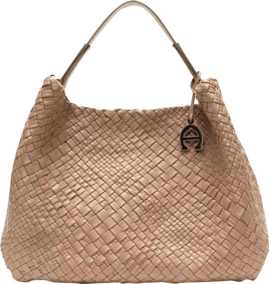 1e9a693905 Etienne Aigner New New Irena Genuine Tote Shoulder Purses Sand Woven Leather  Hobo Bag