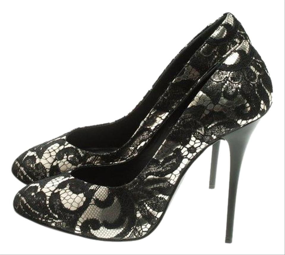 a86bcc3c0fb Giuseppe Zanotti Black Silver Metallic Leather and Lace Pumps Size ...