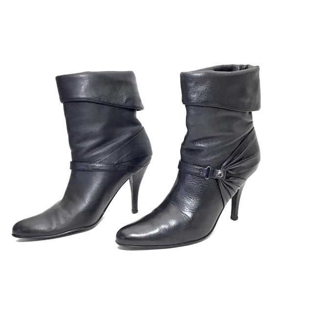 Item - Black Leather Fold Over Ankle Boots/Booties Size US 9 Regular (M, B)