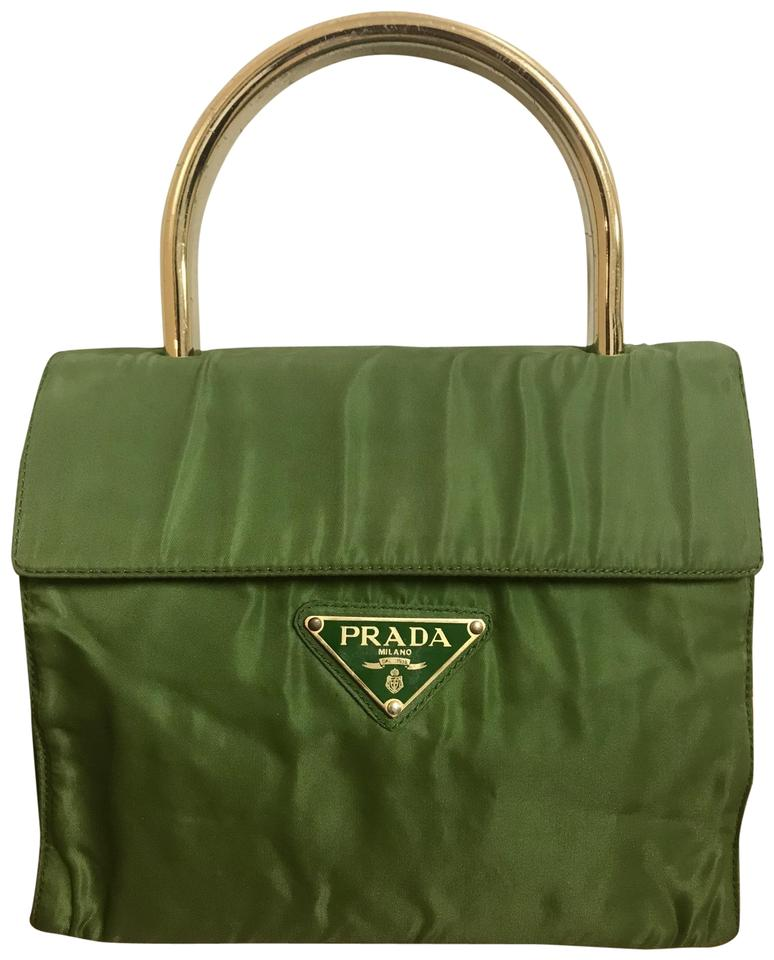 fc3171b432aa Prada Logo Green Gold Plated Handle Nylon Tote - Tradesy