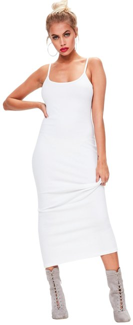 Item - White Ribbed Strappy Long Casual Maxi Dress Size 4 (S)