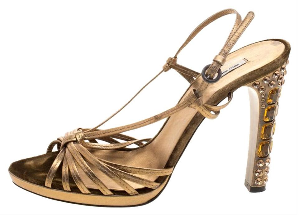 8f80fdad783 Miu Miu Leather Crystal Embellished Strappy Metallic Sandals Image 0 ...