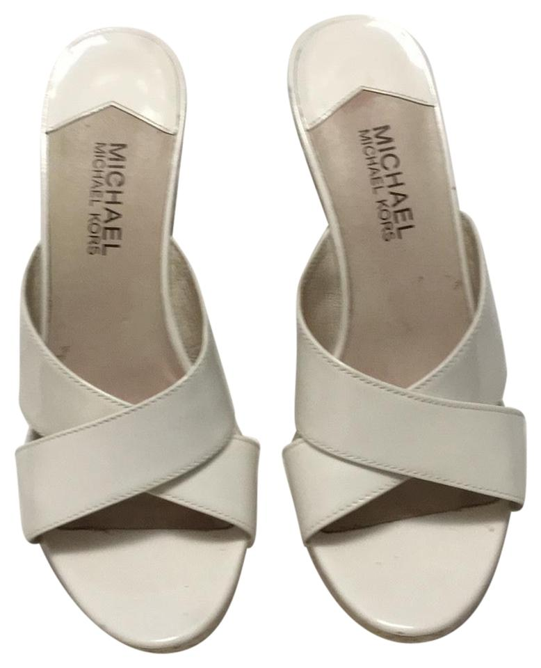 cf2be190dd34 Michael Kors White Patent Wedge Sandals Size US 7.5 Regular (M