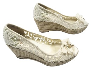 386321d05014 Tory Burch Jackie Peep Toe Lace Espadrille White Wedges