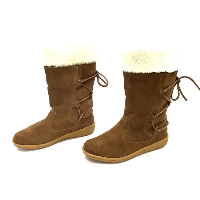 Item - Brown and Cream Twinface Sheepskin Suede Midcalf Winter Boots/Booties Size US 6 Regular (M, B)