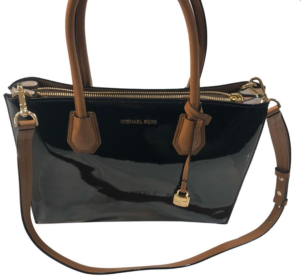 169a08b18a85 Michael Kors Mercer Large Convertible Ballet Black White Leather ...