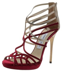 Jimmy Choo Velvet Leather Strappy Red Sandals