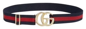 Gucci torchon GG gold elastic navy web belt 90