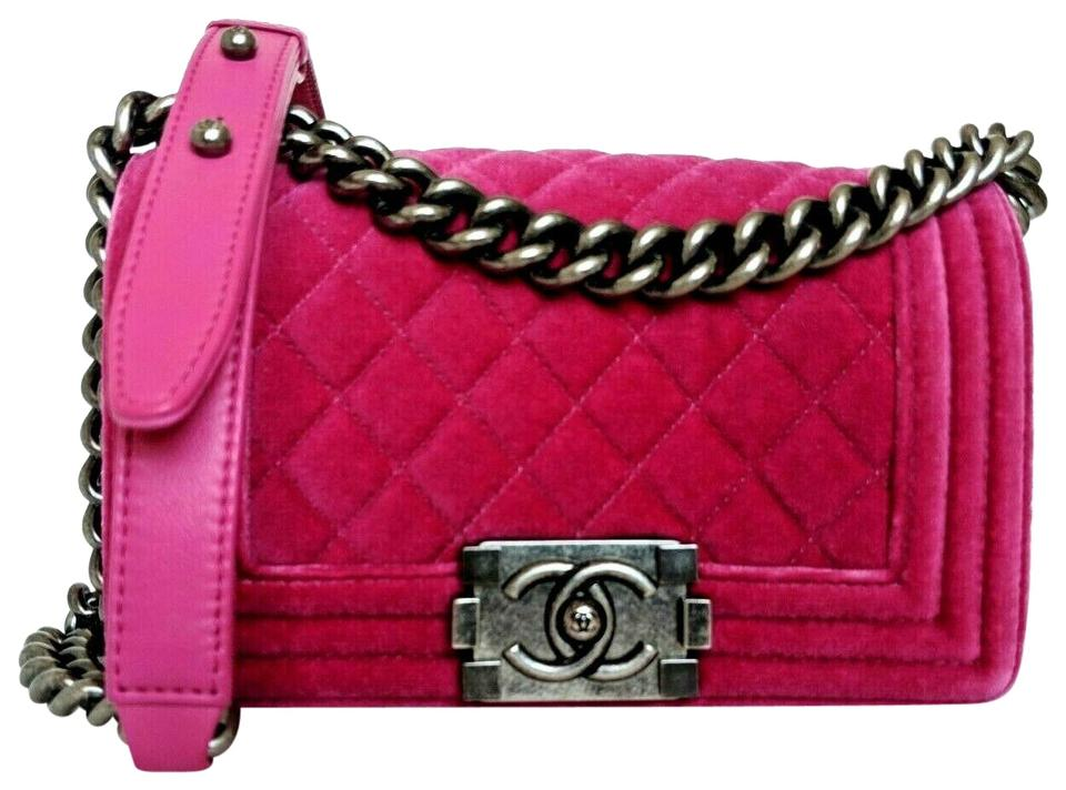 c4fc5fdfdba3 Chanel Boy Quilted Small Flap Pink Velvet Cross Body Bag - Tradesy
