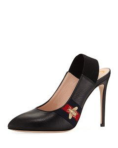 Gucci Leather Pointed Toe Embroidered Logo Black Pumps