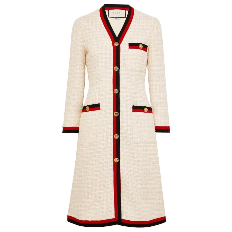 5c6475e19 Gucci Grosgrain Trimmed Cotton Blend Boucle Tweed Coat Cardigan Size ...