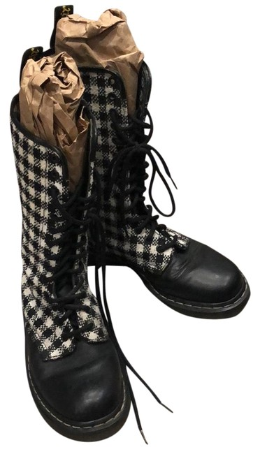 Item - Black and White 1b99 Check 14 Eye Lace Boots/Booties Size US 7.5 Regular (M, B)