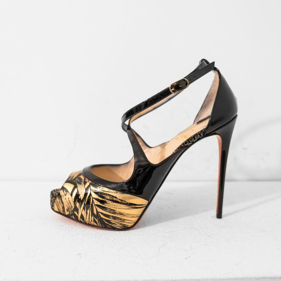 sports shoes b768e 4d772 Christian Louboutin Black and Gold Mira Bella 120 Pumps Size EU 37.5  (Approx. US 7.5) Regular (M, B) 59% off retail