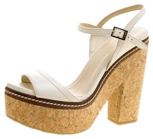 Jimmy Choo Leather Platform Ankle Strap Cream Sandals