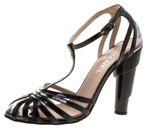 Chanel Patent Leather Strappy Black Sandals