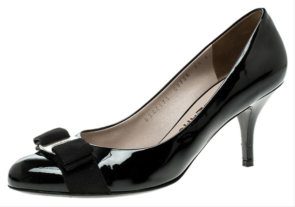 c8f6098e0cac Salvatore Ferragamo Black Patent Leather Carla Vara Bow Pumps Size ...