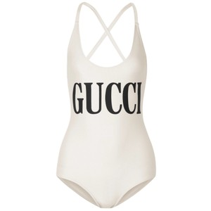 751756cc91 Gucci Logo Printed Shimmer Swimsuit Body One-piece Bathing Suit Size ...