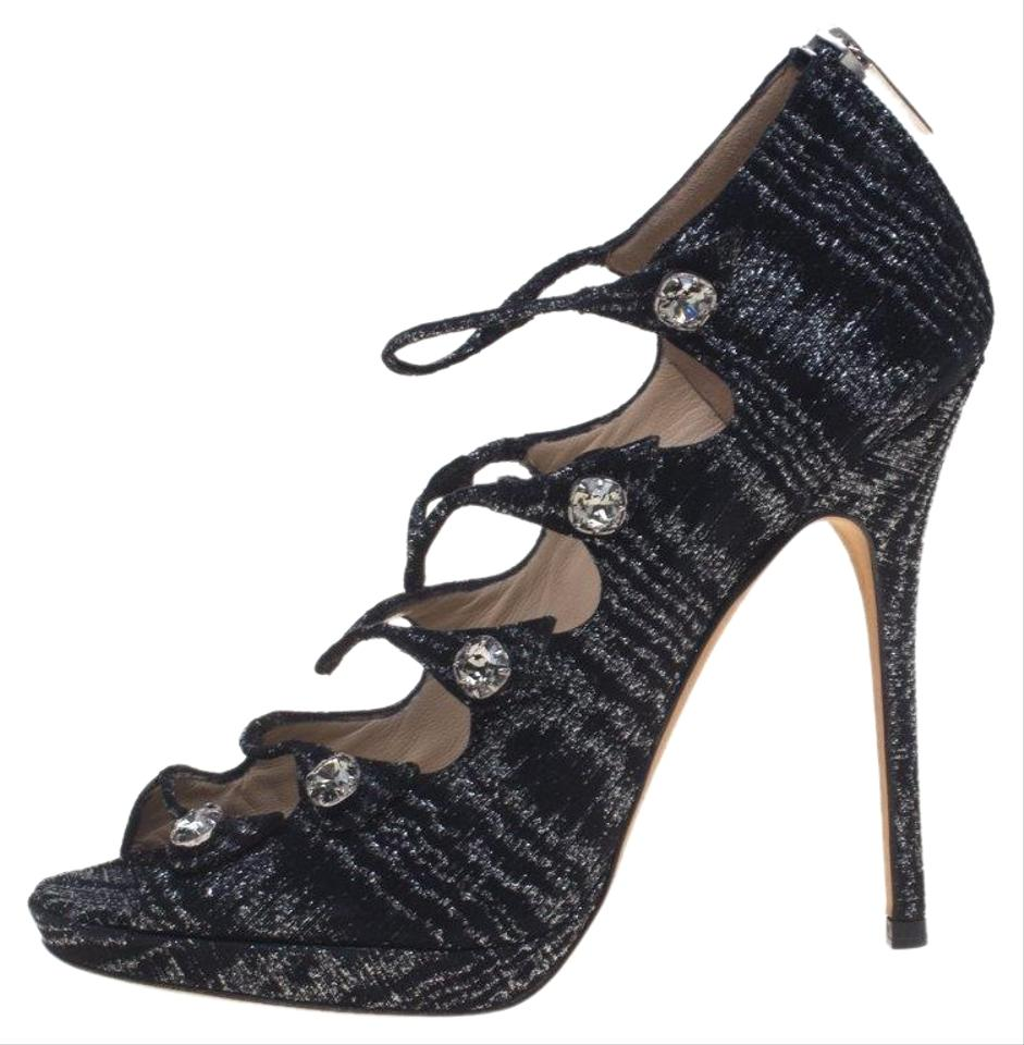 0bff705de0d4 Jimmy Choo Black Metallic Suede Multi Strap Open Pumps. Size  EU 38.5 ...