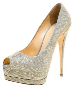 bdb8becde607 Giuseppe Zanotti Denim Embellished Canvas Peep Toe Blue Pumps