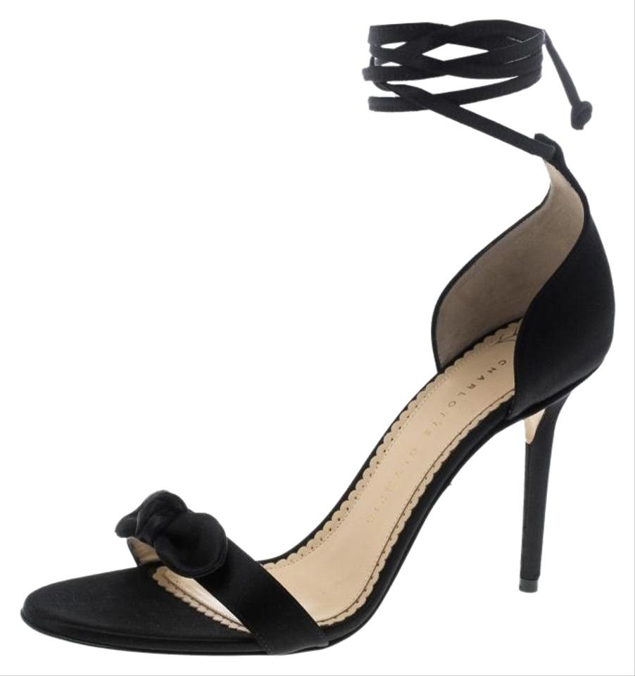 f9722d6a6da8d Charlotte Olympia Black Satin Shelley Bow Embellished Ankle Wrap Sandals