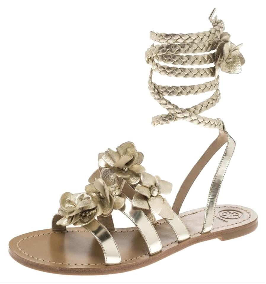 b296ef0b4a4f91 Tory Burch Gold Metallic Leather Blossom Floral Embellished Flat Gladiator  Sandals