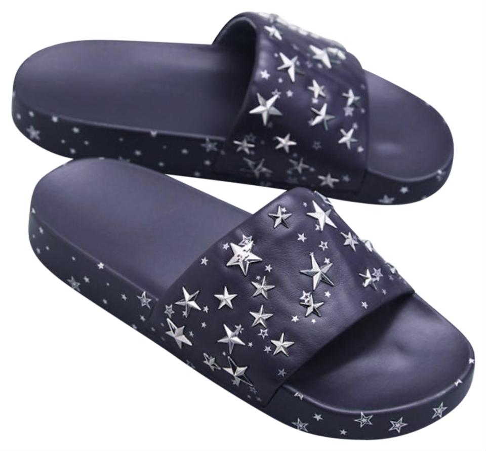 ef83f5b993fe Tory Burch Perfect Navy Silver Star Slide Flip Flops Leather Sandals ...