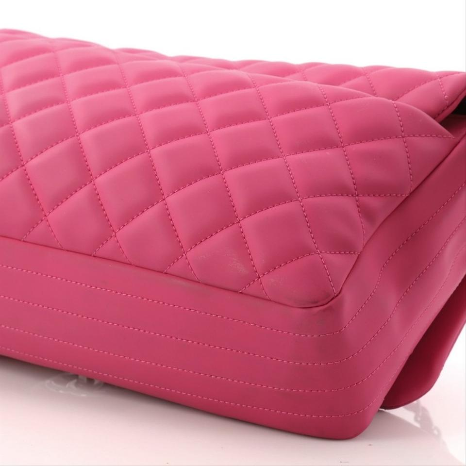 a515ccdda264 Chanel Classic Flap Coco Rain Quilted Jumbo Pink Rubber Cross Body ...