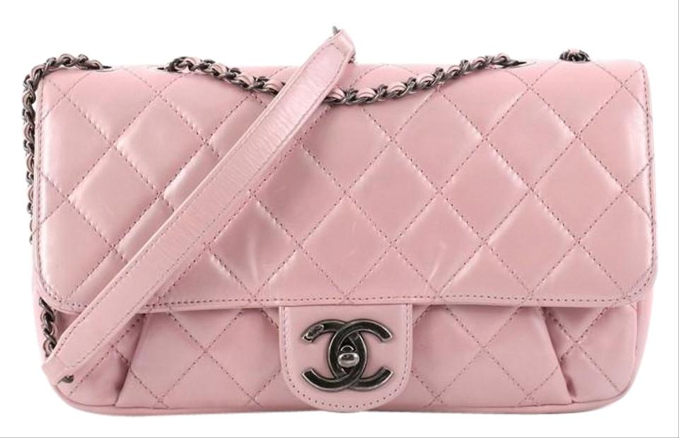 4afed54a0602 Chanel Classic Flap Pleated Chain Quilted Medium Pink Metallic ...