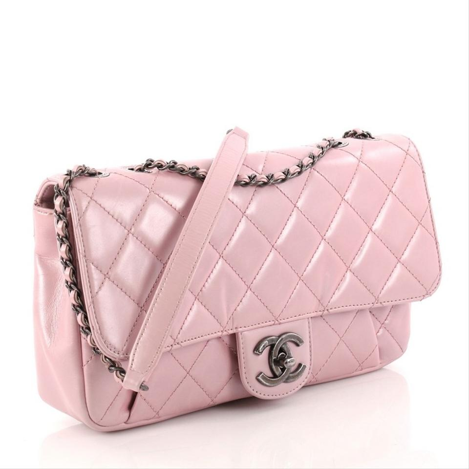 ade1d2f802a608 Chanel Classic Flap Pleated Chain Quilted Medium Pink Metallic ...