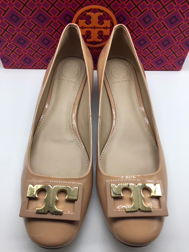 f953483e92b5 Tory Burch Patent Patent Leather Low Heel Beige Nude Pumps Image 10.  1234567891011