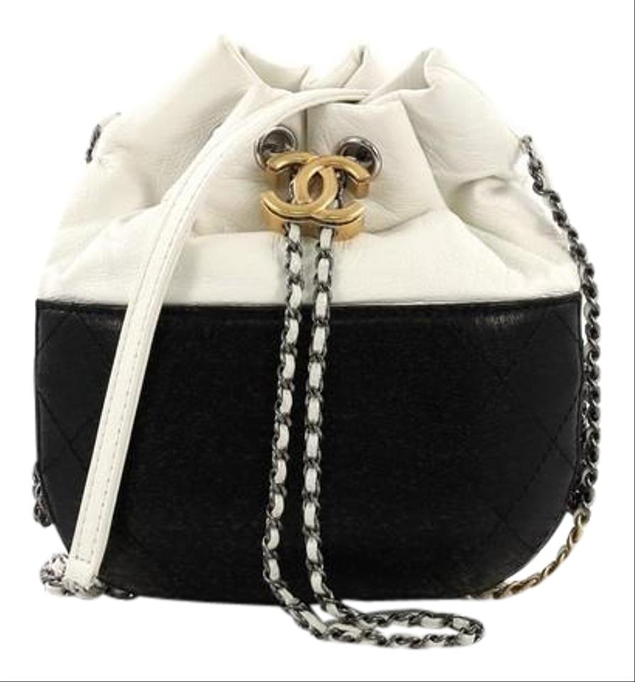 e89b777fac35 Chanel Drawstring Gabrielle Quilted Small White and Black Calfskin ...