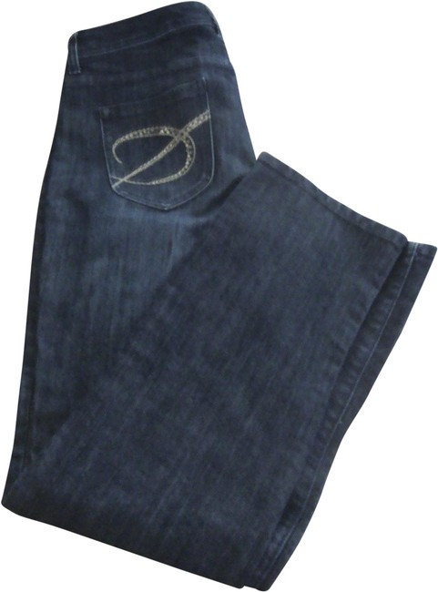 Item - Blue Platinum Denim Rhinestone Pockets Classic Straight Leg Jeans Size 30 (6, M)