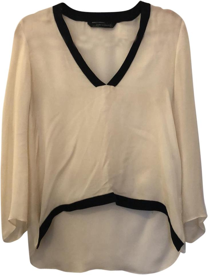 35047eed7d7 Zara White Sheer V-neck Blouse Size 4 (S) - Tradesy