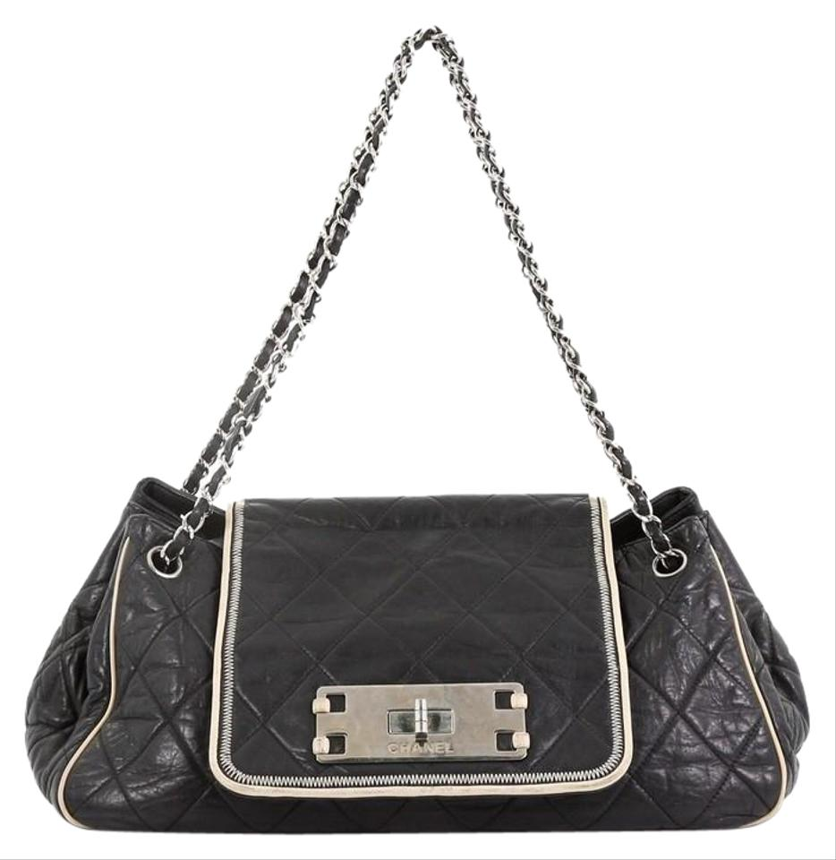 708a334c7e6e Chanel Classic Flap Mademoiselle East West Accordion Quilted Medium Black  Lambskin Leather Shoulder Bag