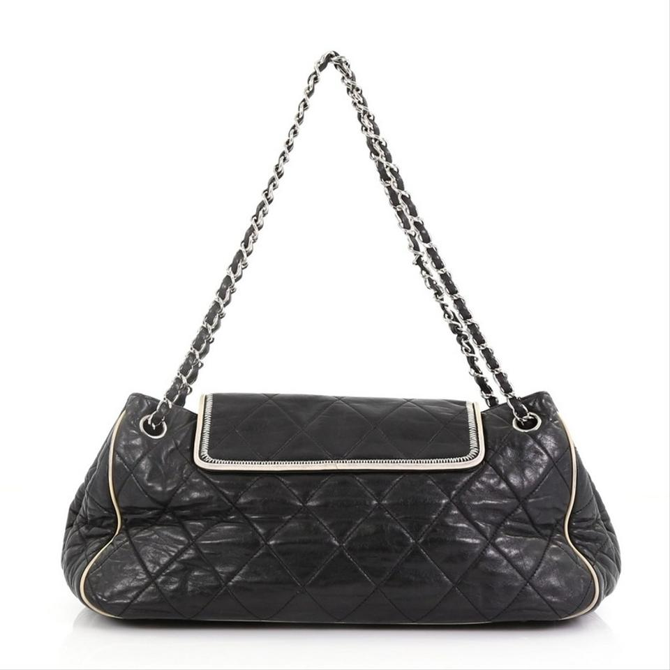 64a146a44636 Chanel Mademoiselle Classic Flap East West Accordion Quilted Medium Black  Lambskin Leather Shoulder Bag