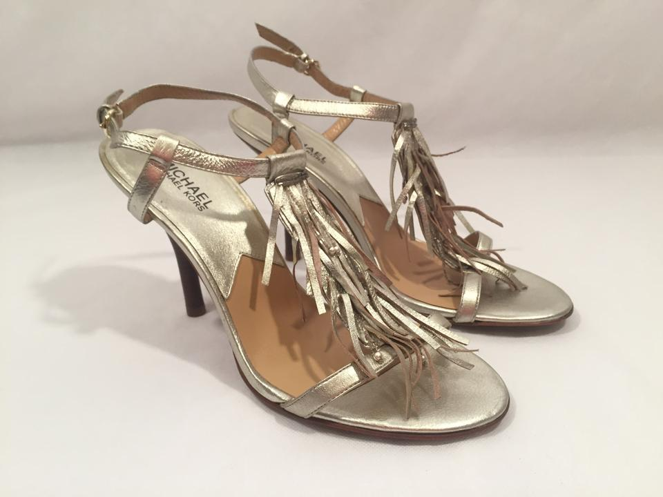 081b26a50c Michael Kors Silver New Leather Fringe Strappy High Sandals Size US 10  Regular (M, B) - Tradesy