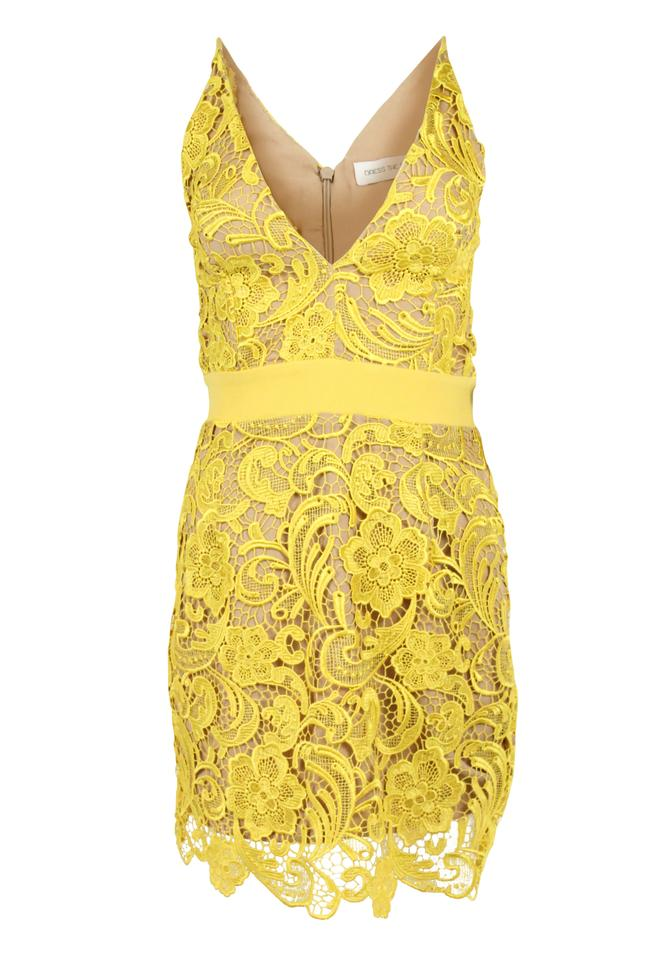 wholesale price great prices moderate price Dress the Population Yellow Ava Lace Mini Short Cocktail Dress Size 8 (M)  85% off retail