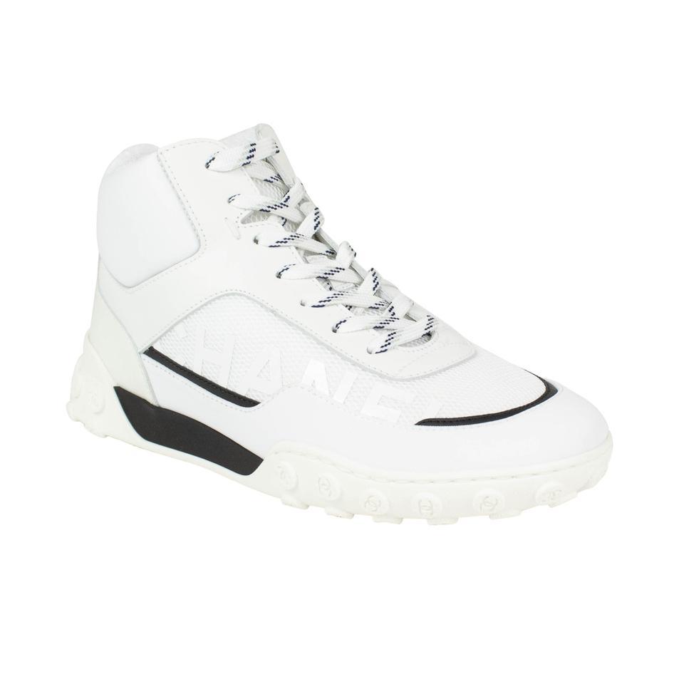 0d58edaa7c9d Chanel White Leather Lycra and Mesh Lace Up Sneakers. Size  EU 42 ...