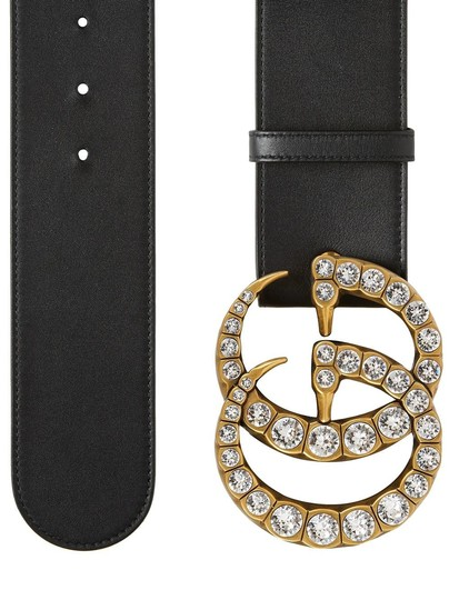 Gucci Gucci Double G Marmont Crystal Wide Belt Black 75 Sz 2