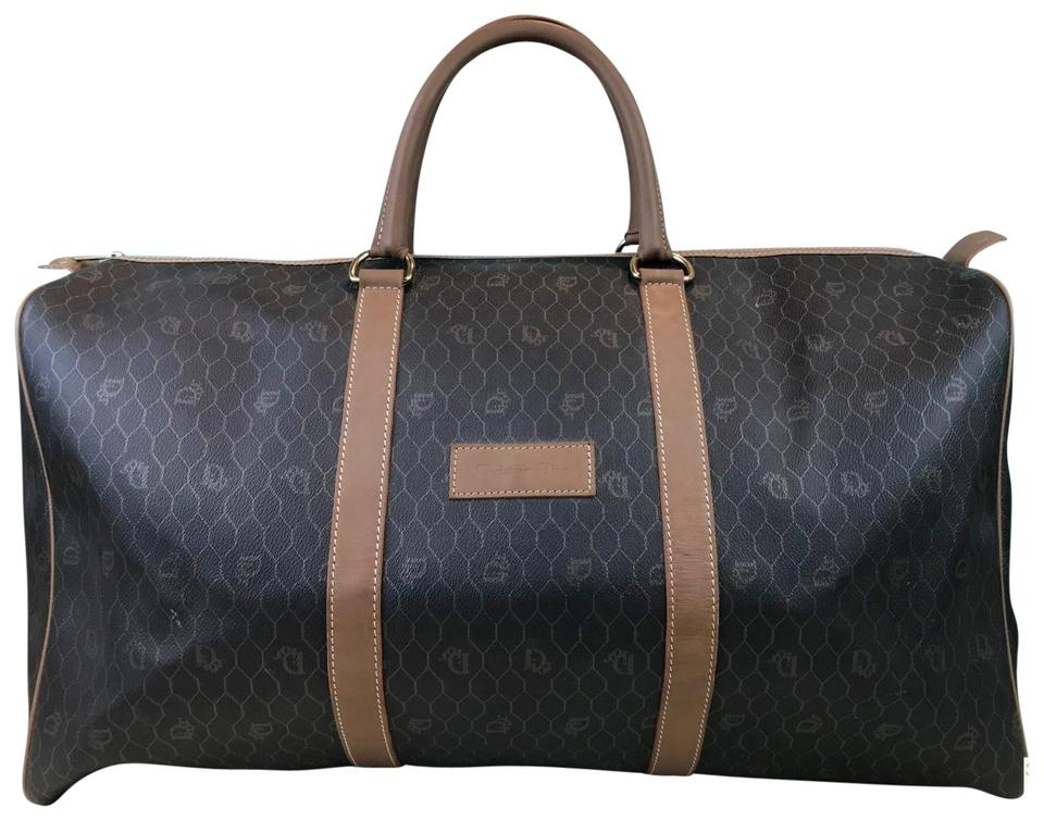 Dior Christian Monogram Duffle Brown Coated Canvas Weekend Travel ... d56a7acde7
