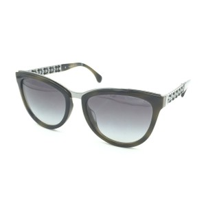 7090382b3bbd5 Chanel Cat eye Olive Silver Chain Gray Gradient Sunglasses 5361-Q-A 1577 S6