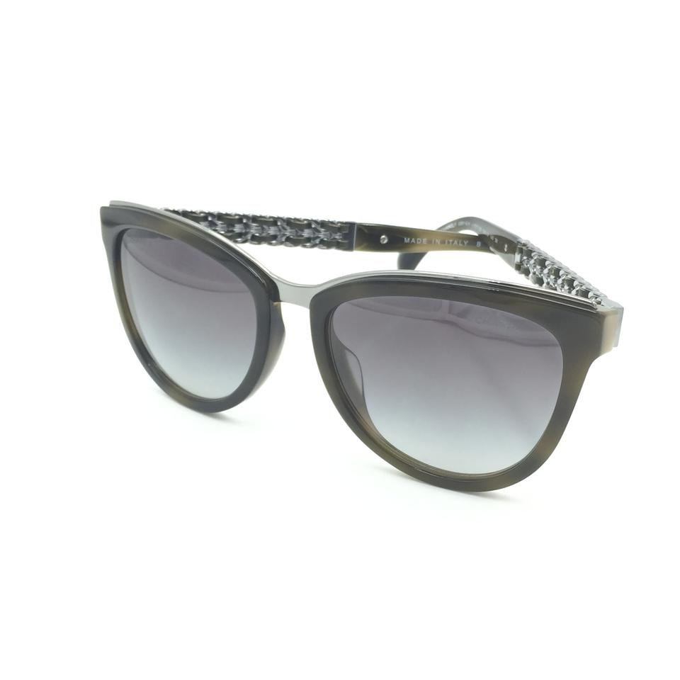 c92bcd5e34 Chanel Cat eye Olive Silver Chain Gray Gradient Sunglasses 5361-Q-A 1577 S6  Image. 12345678910