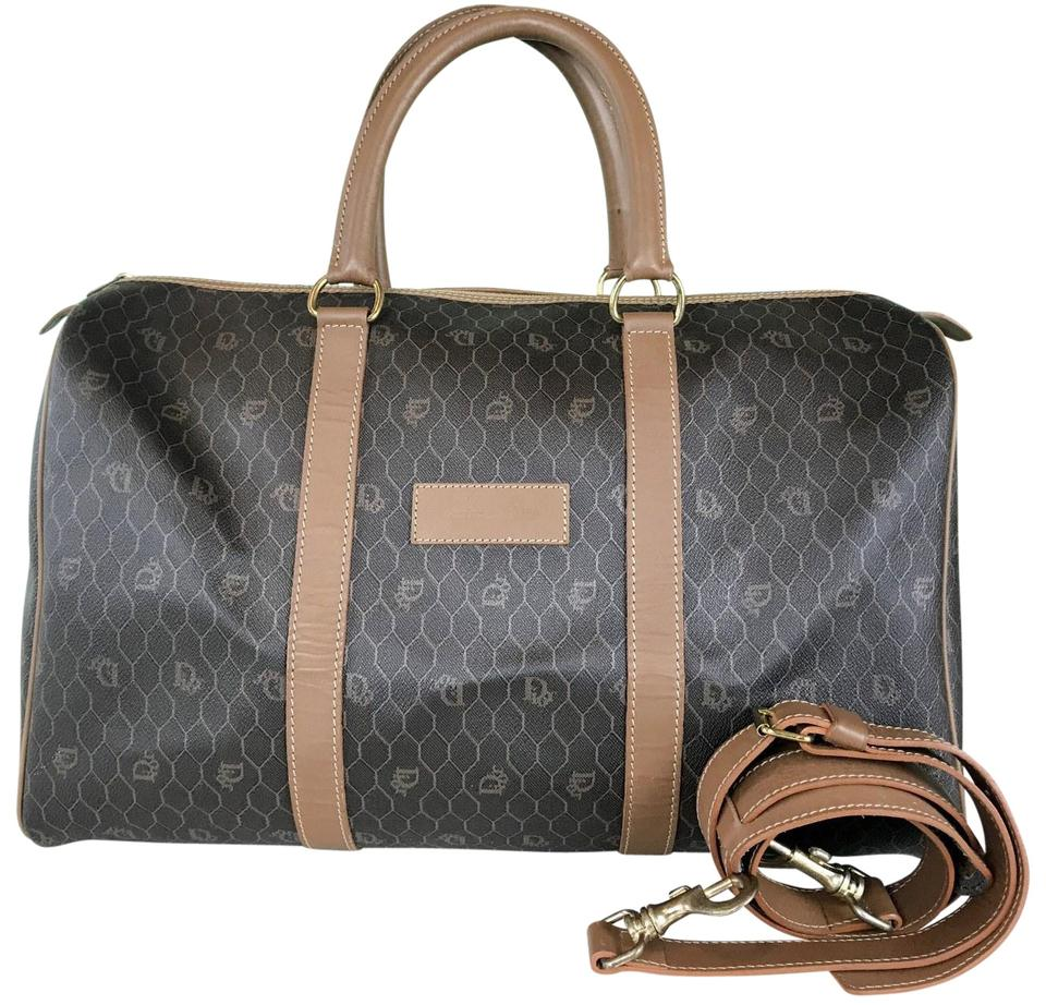 Dior Christian Monogram Duffle Sale Brown Coated Canvas Weekend Travel Bag 0a6a58a5792aa