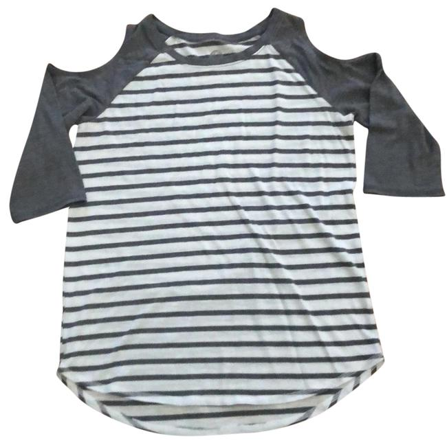 Item - Gray and White Striped Cold Shoulder Tee Tunic Size 12 (L)