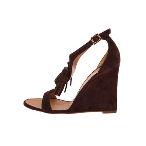 6caaa6dcf24 Dsquared2 Brown New Dsq2 Suede Leather Open-toe T-strap Tassel ...