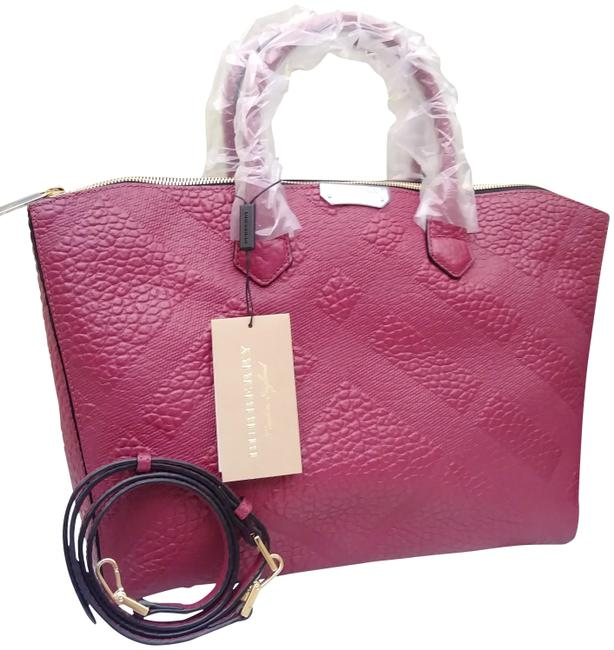 Item - Sg Grain Check Medium Plum Dewberry with Matching Porter Wallet Set Purple Leather Satchel